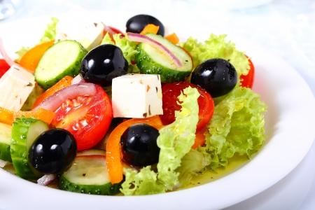 Greek salad with vegetables and olives