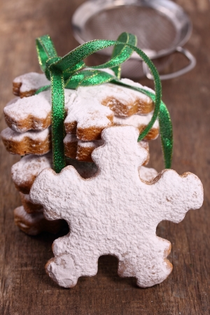 Ginger biscuits in the form of snowflakes  Stock Photo