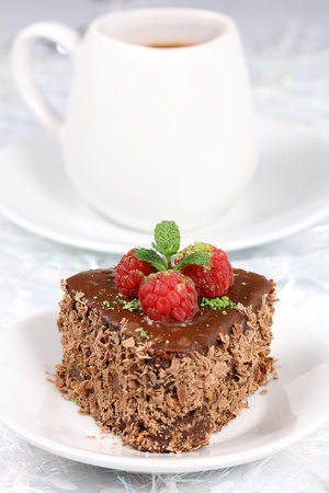 Chocolate cake with chestnuts and raspberries Stock Photo - 16577805