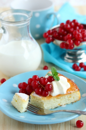 Cottage cheese baked pudding with red currants Stock Photo - 16577802