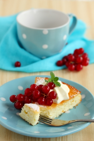 Cottage cheese baked pudding with red currants Stock Photo - 16577804