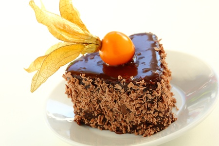 Chocolate cake with chestnuts and winter cherry Stock Photo - 16577797