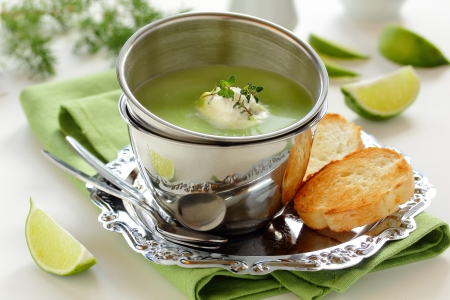 Cream-soup from young green peas   Stock Photo