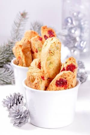 Biscotti with pistachios and cherries  Stock Photo