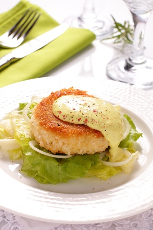 Fish cutlet with a salad