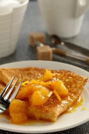 Pancakes  crepe suzette  with orange sauce