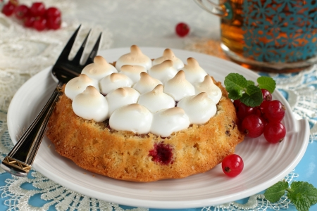 Sponge-cake with berries of red currant and pie took place Stock Photo - 17750396