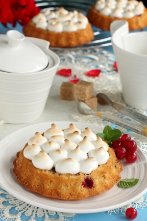 Sponge-cake with berries of red currant and pie took place Stock Photo - 17750388