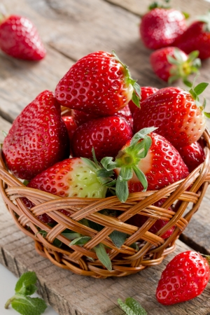 Home Grown Strawberries in Basket Stock Photo - 18246824