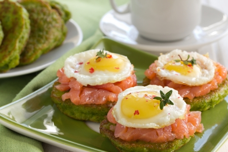 bakery products: Pea pancakes with salmon and egg