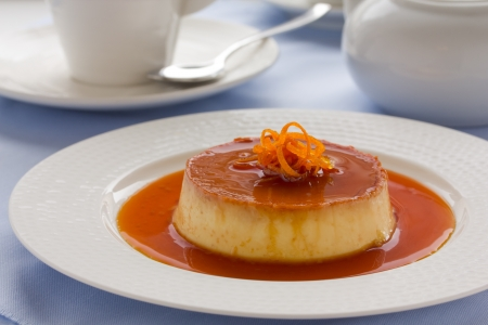 Creme caramel from oranges and cream  Stock Photo