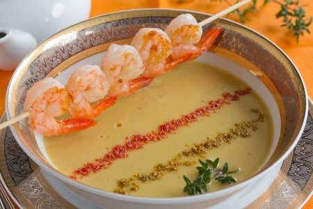ingradient: Lentil soup with shrimp. Stock Photo