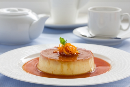 Creme caramel from oranges and cream. Stock Photo