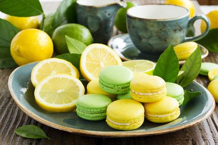 Key lime and lemon macaroon.