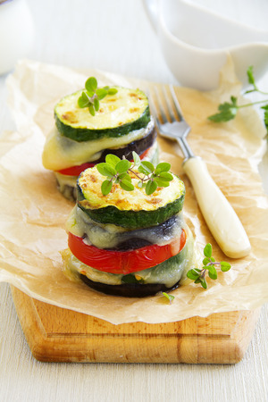 Roasted vegetables with cheese Stock Photo