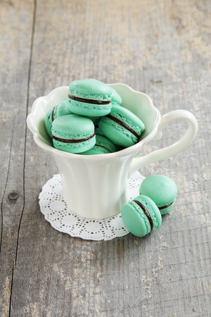 macaroon with chocolate filling. Stock Photo