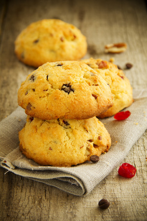 Homemade cookies with chocolate, cranberry and pecan.