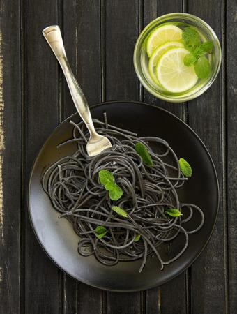 Cuttlefish ink spaghetti. Stock Photo