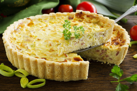 quiche lorraine-French cake. Stock Photo