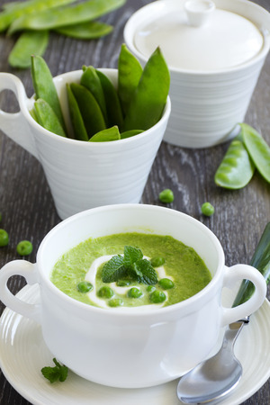 Puree the soup young green peas.