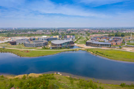 Aerial photo of the large University of York in the City of York in North Yorkshire, UK Academic teaching and research institution, founded in 1963, with a modern campus and colleges.