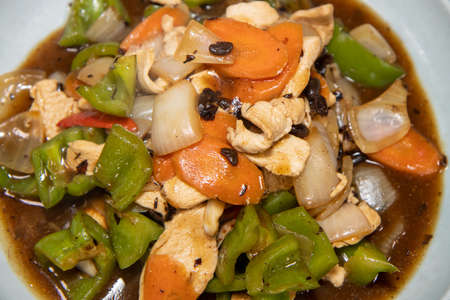 A delicious bowl of Chicken with Green pepper Stir Fry
