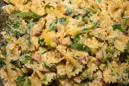 A delicious plate of Pancetta Parmesan and Pea Pasta