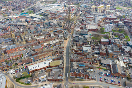 Aerial photo of the British town of Wakefield in West Yorkshire in the UK showing the main street and main road through the city centre taken in the spring time Stok Fotoğraf