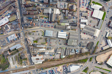 Top down aerial photo of the British town of Wakefield in West Yorkshire in the UK showing the main street town centre the residential properties in the town taken in the spring time