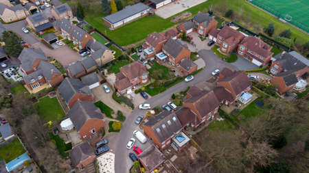 Aerial photo of a typical residential housing estate in the UK, taken in the village of Alverthorpe in Wakefield West Yorkshire showing a modern cul-de-sac residential housing estate in the spring Stok Fotoğraf