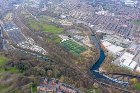 Aerial photo of the village of Armley and Kirkstall in the city of Leeds in the UK showing the city centre from above in the spring time Stok Fotoğraf