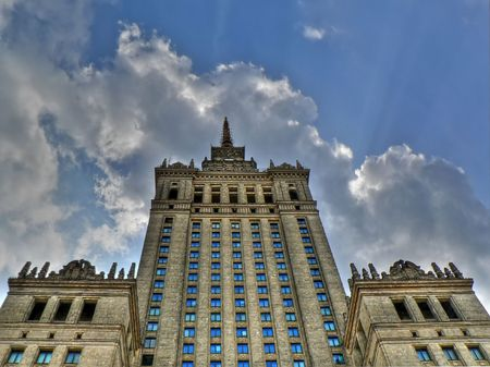 Palace of Culture and Science landmark of Warsaw Stock Photo