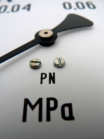 macro of a pressure gauge in a chemistry lab Stock Photo