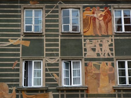 stare miasto: Vintage house wall in the old city of Warsaw