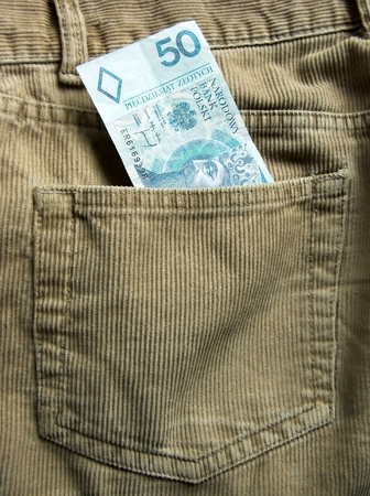 Polish bank note in a back trouser pocket