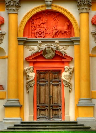 Closeup of an entrance door of the Wilanow palace in Warsaw