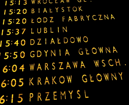 Trains departures board at the main train station in Warsaw