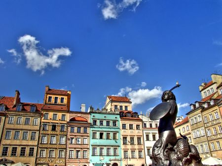 Old town square in Warsaw with the mermaid statue