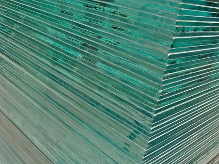 A pile of glass sheets took from a corner