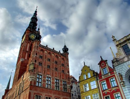 Gdansk Town Hall with colorful houses Stock Photo