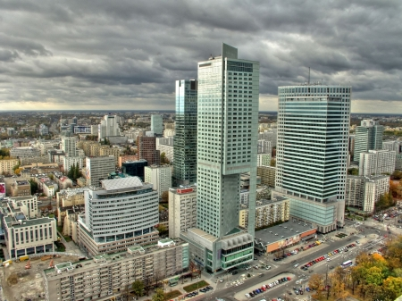 Warsaw skyline with warsaw towers