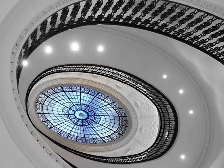 Spiral staircase with glass atrium black and white