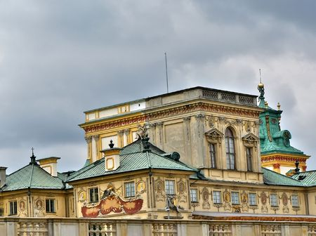 Close up shot of the Wilanow palace in Warsaw Stock Photo