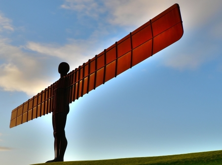 Angel of the North Landmark of Gatheshead Newcastle side view Stock Photo
