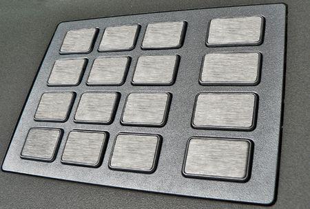 automatic teller machine: cajeros autom�ticos a tiros closeup vac�a con teclado