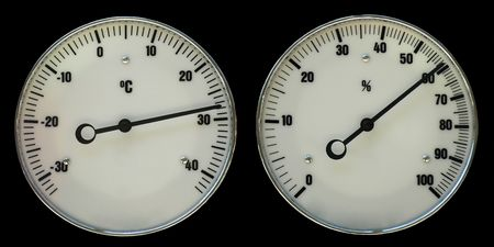 mesure: Thermometer and hydrometer for weather forecast isolated on black Stock Photo