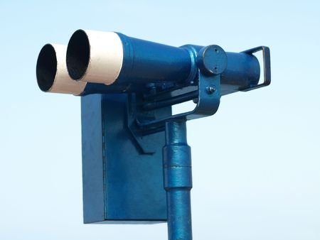 long range: Long range  binoculars painted in blue and white Stock Photo