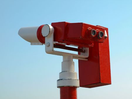 long range: Long range binoculars painted in red and white