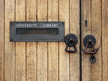 University library entrance  with letterbox Stock Photo