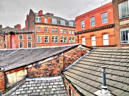 Rooftops in the  city of Liverpool in England HDR processed